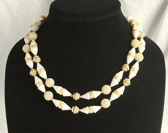 Art Deco Bead Necklace Vintage Deco Style Gold White Multi Strand Choker Mad Men