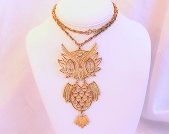 Big Owl Necklace Pendant Vintage 1970s Segmented Kitschy Retro Bold Rhinestone Eyes