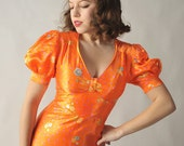 Vintage Tangerine Dress // The 1940s Style 1970s Slipper Satin Sweetheart Dress in Bold Orange
