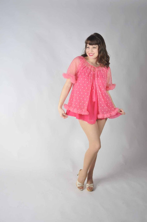 Vintage 1950s Pink Polka Dot Peignoir