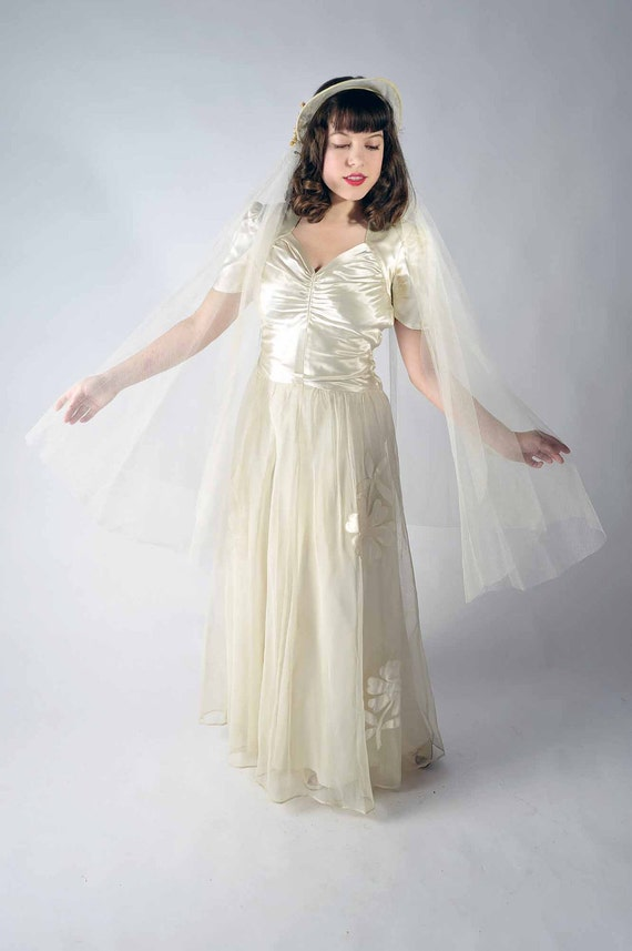 vintage 1940s wedding dress the satin starlight bridal gown