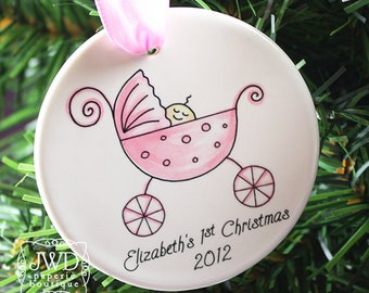 Baby's First Christmas Personalized Ornament Baby Girl Pink  Carriage Personalized Ornament