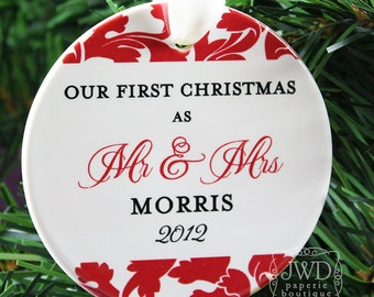 Our First Christmas Mr and Mrs Ornament Personalized Wedding Holiday Ornament- Valencia Pattern Custom Color - Item# VAL-MM-O