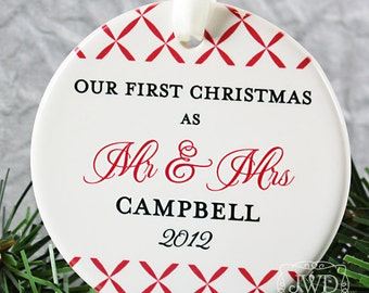 Personalized Wedding Ornament Mr and Mrs Ornament Our First Christmas Personalized Wedding Gift  - Trellis Pattern - Item# TRE-MM-O