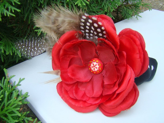 Elegant Feathered Dog Collar Cover and Removable Silk Flower Corsage Photo Prop Wedding Custom