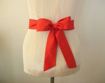 Red Wedding Sash, Dupioni Silk Sash, Silk Sash, shorter length