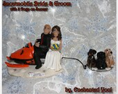 Snowmobile Wedding Cake Topper with 3 Dogs on Saucer