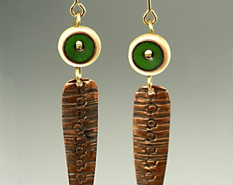 Green Enamel, white bone and textured copper dangle earrings, Rustic Primitive copper pendant earrings with Green and white accents