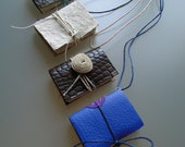 handmade mini books, book binding, handmade paper, nightcloud, pendant, 4x one of a kind, eco