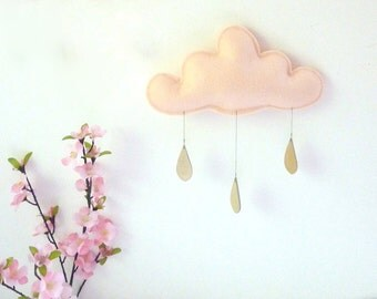 Spring Cloud mobile.PEACH with gold raindrops by The Butter Flying-Rain Cloud Mobile Nursery Children Decor