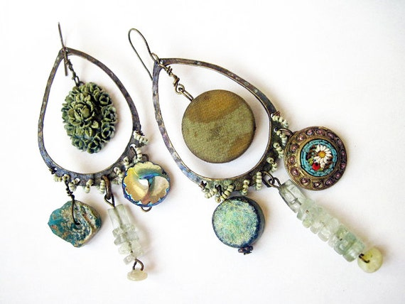 The Strange Pull. Rustic Victorian Cosmic Iridescent Earrings with Roman Glass, Micromosaic and Gemstones.