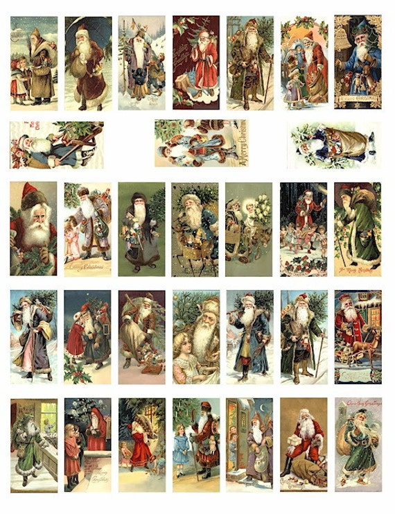 victorian old world Santa Claus christmas COLLAGE SHEET 1x2 inch dominos