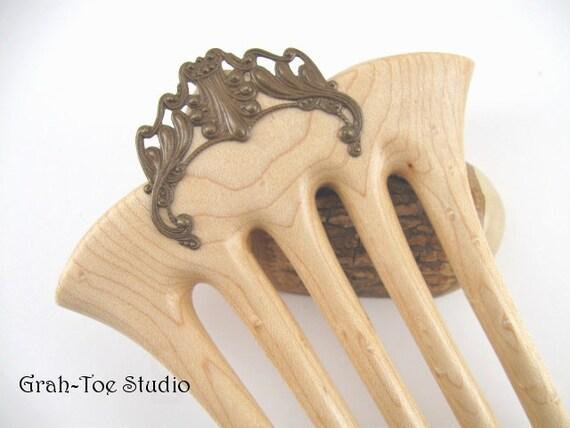 RESERVED Hair Fork 5 Prong Birdseye Maple Wood Grahtoe PCT
