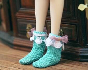 jiajiadoll- Hand Knit- blue green lace bowknot socks fits momoko- blythe -Misaki- Unoa light- Lati yellow