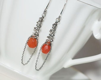 Artisan Carnelian and Sterling Silver Openwork Cone Earrings