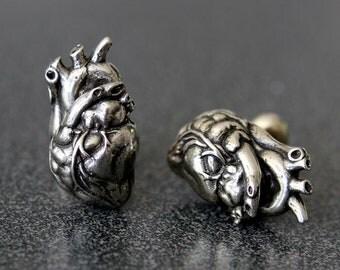 Heart Cuff links Silver Anatomical Heart Cufflinks Mens Jewelry 165