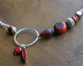 Boho Chic Artisan Necklace in Silver, Red Coral and Vintage Glass - OOAK