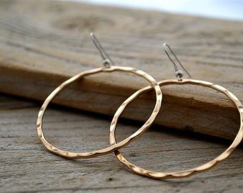 Simple Hammered Brass Hoop Earrings With French Wires