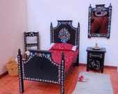Dollhouse miniature bed in 12th scale Portuguese typical  hand painted furniture from Alentejo