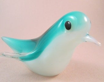Vintage Murano Art Glass Bird Teal Blue and White Opalescent Glass