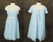 vintage 60s Night Gown and Bed Jacket - Baby Blue Babydoll Peignoir Set 1960s Lingerie Sz XS