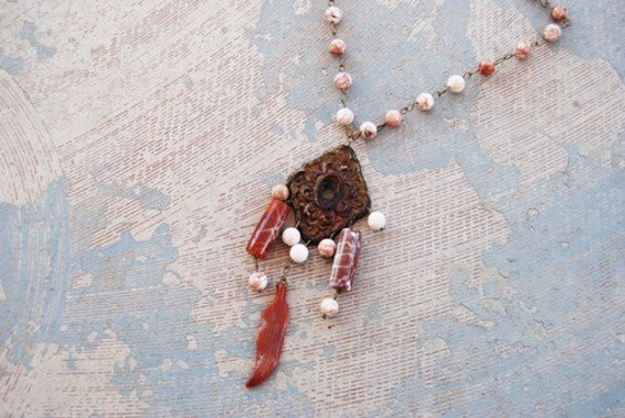 Tribal Talisman Necklace - Agate and Carnelian Feather - Antique Hardware Collection
