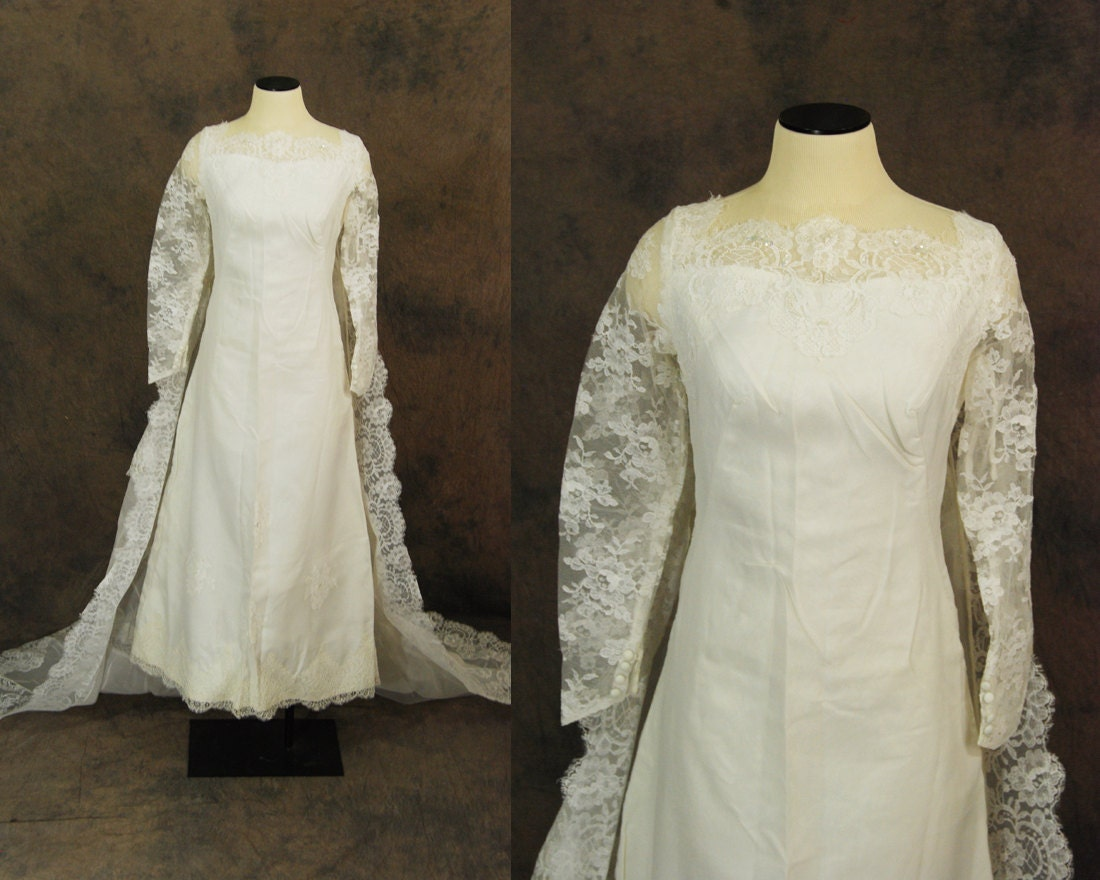 CLEARANCE SALE Vintage 60s Wedding Dress Lace Illusion