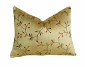 18x18 Designer Pillows, Green Pillow Covers, Textured, Floral Pillows, Accent Pillow, Embroidered Flowers, Spring Decorative Pillows, Zipper