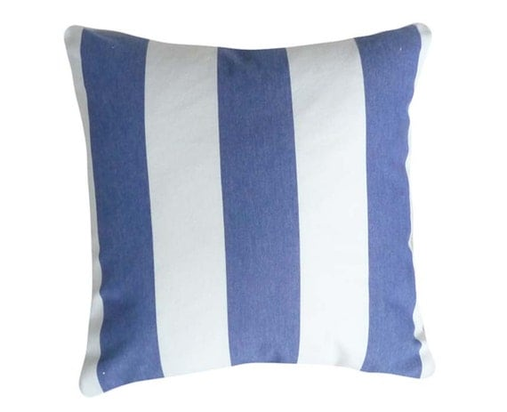 Blue and White Stripe Pillows, Decorative Throw Pillow, Couch Cushion Covers, Coastal Cottage Decor, Accent Pillows 16x16