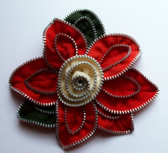 Red and Creamy White Floral Brooch approx 4 inches, 10 cm by ZipPinning 2197