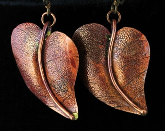 Copper Leaf Earrings. Listing 109324550