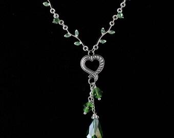Rhinestone Heart Necklace Set. Listing  118303043