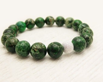 Green Jasper Bead Bracelet / Aqua Terra Jasper / woodland forest emerald green / dark lime green bracelet / bohemian stacking  bracelet