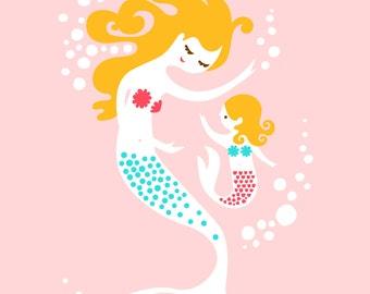 "8X10"" mermaid mother & daughte giclee print on fine art paper. pink, teal, blonde."