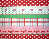 Japanese, Koko Seki for Lecien,  4 Girls, Berry Doll Stripe in Pink, Red and Green 40167.20 - 1/2 Yard