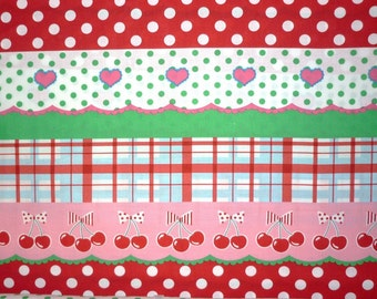 Koko Seki for Lecien,  4 Girls, Berry Doll Stripe in Pink, Red and Green 40167.20 - 1 Yard Clearance