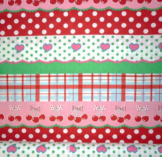 Japanese, Koko Seki for Lecien,  4 Girls, Berry Doll Stripe in Pink, Red and Green 40167.20 - 1 Yard