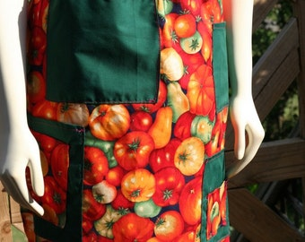 SALE Cute Cotton Half Apron with pockets - Great for Cooking or Gardening - Lovingly made by my Mom