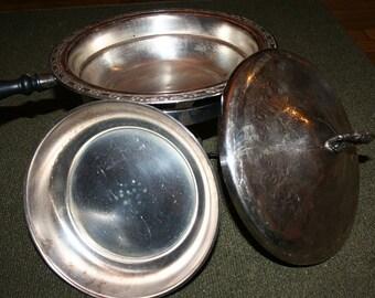 SUPER SALE - Vintage Oneida Silversmiths Silverplate Chafing Dish w/ Stand & Burner