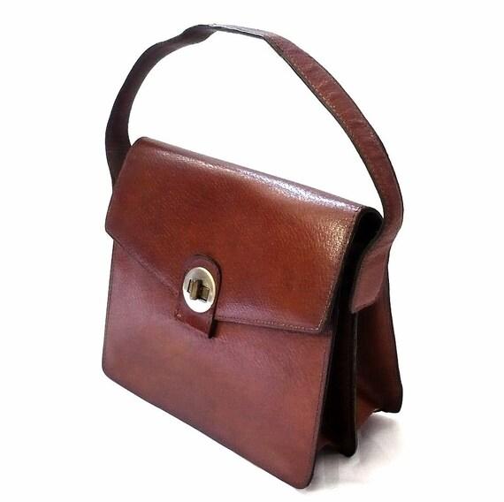 RENEE French Vintage 50s Brown Leather Handbag