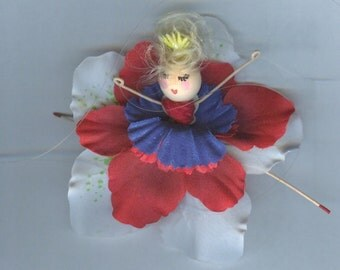 Blonde Flower Fairy with Red, White and Blue Petals (015)