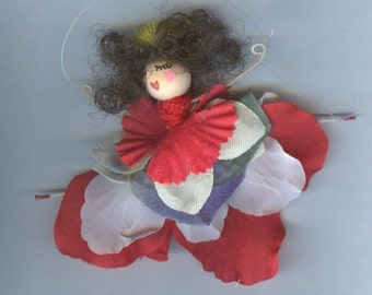 Brunette Flower Fairy with Red, White and Blue Petals (013)