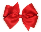 "Red Satin Hair Bow, 6 Inch Hair Bow, Big Satin Bow, Extra Large Boutique Bow, King Size Bow, 6"" Satin Holiday Hair Bow Women Girls 60 Colors"