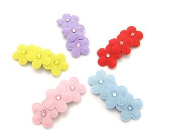 Flower Barrettes, Set of 5 Flower Hair Clips, Embellished with Swarovski® crystals, Baby, Toddler Girls, 3ft, Rhinestone Flower Barrettes