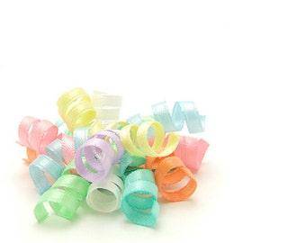 Pastel Rainbow Mini Korker Bow, Satin Korker Barrette, Baby Hair Clip, Toddler Girl Korker Clippies