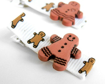 Gingerbread Hair Clips, One Pair, Gingerbread Boy, Gingerbread Girl, Gingerbread Clippies