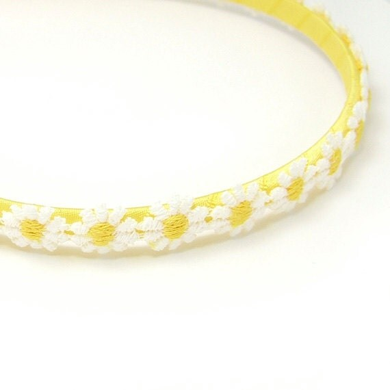 Daisy Headband, Daisy Chain Headband, Daisies Head Wreath, White, Lemon Yellow, Toddler, Girl, Teen, Women