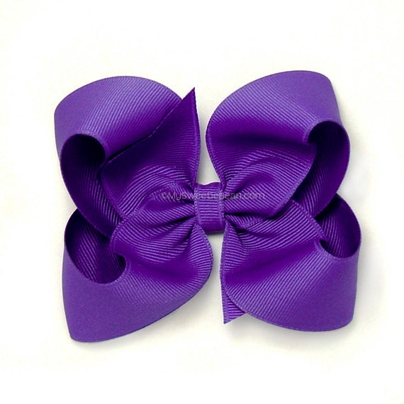 Purple Boutique Hair Bow, 4 inch Hair bow, Large Twisted Boutique Bow ...