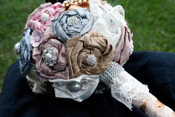 SALE The Catherine fabric, rhinestone, crystal and lace bouquet - Made to Order