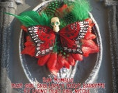 Hair Barrette: Dead Girl Decay - Bah Humbug Christmas Red Green White Skullerfly Flower Feather Spooky Handmade Accessory